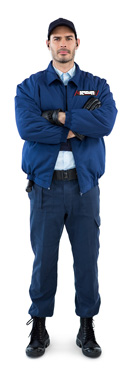 Portrait of security standing with arms crossed against white background